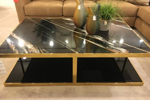 Cocktail Table With Black Glass