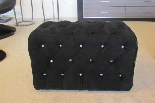 Tufted Upholstered Bench With Swarovski Crystals