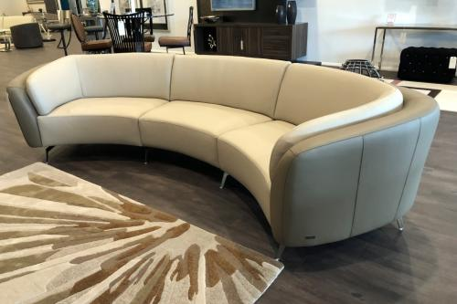 New! 3 Pc.  Curved Leather Sectional