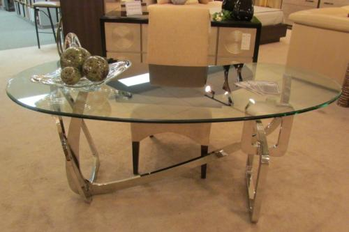 Glass Desk With Stainless Steel Base